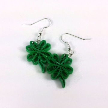 shamrock earrings, four leaf clover jewelry, St. Patricks Day earrings, cute
