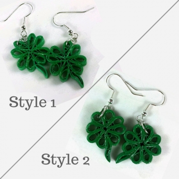 clover earrings, green earrings, green shamrocks, irish jewelry, paper quilling