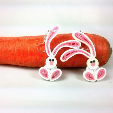 cute bunny earrings, paper quilling earrings, quilling bunnies, quilling rabbits
