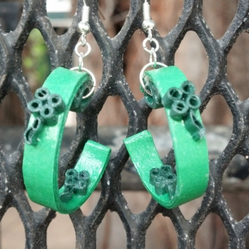 Irish earrings, half hoop earrings, open hoop earrings, quilling shamrocks