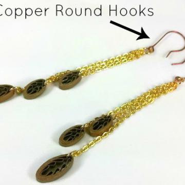 dangle gold chain earrings, copper leaves, eco friendly jewelry, gold earrings
