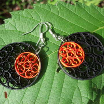 orange and black earrings, round earrings, black boho earrings, orange earrings