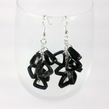 black cluster earrings, modern earrings, black earrings, dangle chain earrings