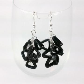 black cluster earrings, modern earrings, black earrings, dangle chain earrings