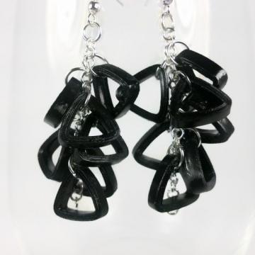 paper earrings, black triangle cluster, wear to work earrings, triangle jewelry