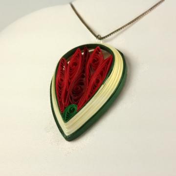 large teardrop shape, closed lotus jewelry, red lotus jewelry, Buddhist jewelry