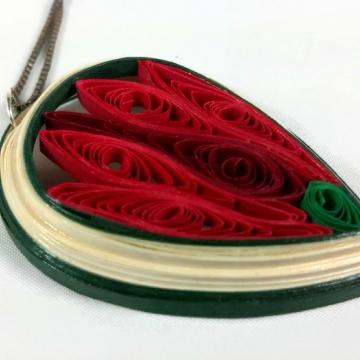 red lotus flower pendant, large lotus pendant, red lotus pendant, lotus charm