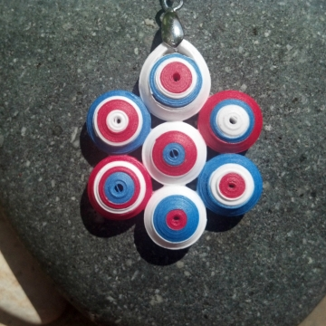 Independence Day quilling, independence day necklace, patriotic quill necklace