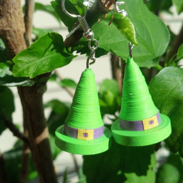 paper quilled earrings, quilling jewelry, witch hats earrings, witch earrings