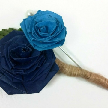 paper rose boutonniere, two quilled roses, paper flower, paper boutonniere