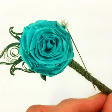 turquoise paper rose boutonniere, paper flower boutonniere, paper boutonniere