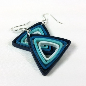 purple triangle, blue triangle, green triangle, geometric earrings, gift idea