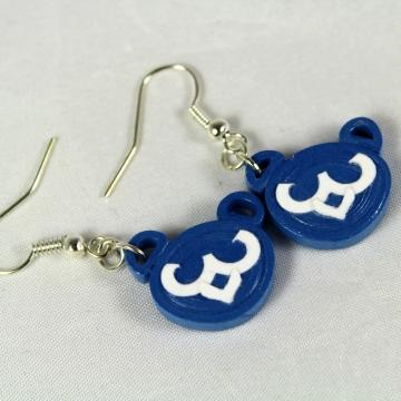 cubs earrings, cubby bear earrings, bear earrings, blue bear earrings, blue cubs