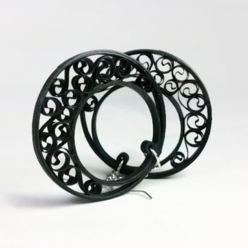 black filigree earrings, half moon hoops, black earrings, black hoop earrings