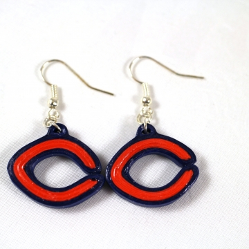 Chicago football earrings, Chicago earrings, Chicago jewelry, bears earrings