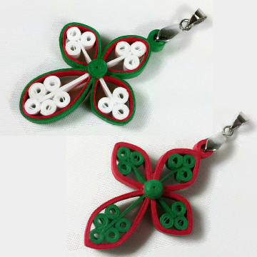 Christmas cross pendant, red and green jewelry, Christmas jewelry, necklace