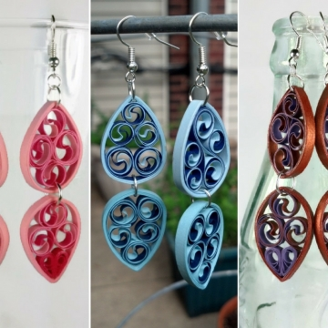 double teardrop earrings, paper filigree earrings, pink filigree, blue filigree