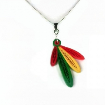 four feathers, Chicago Blackhawks necklace, hawks necklace, hawks four feathers