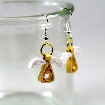 gold angel earrings, angel earrings, gold angels, paper quill angel, paper angel