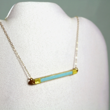 Gold and Turquoise Horizontal Bar Paper Necklace