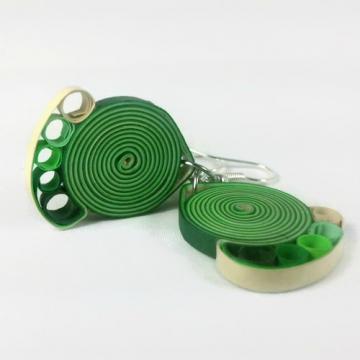 green earrings, round earrings, eco chic earrings, dainty earrings, blue dangle