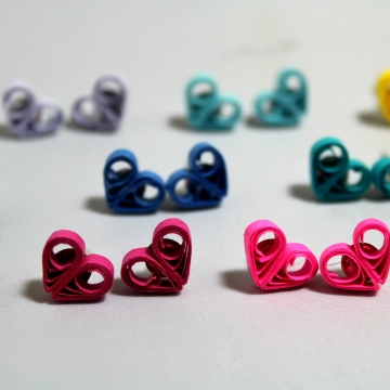 little heart stud earrings, heart studs, heart earrings, heart stud earrings