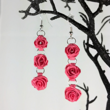 dangle roses, quilled roses, paper rose earrings, paper quilling earrings