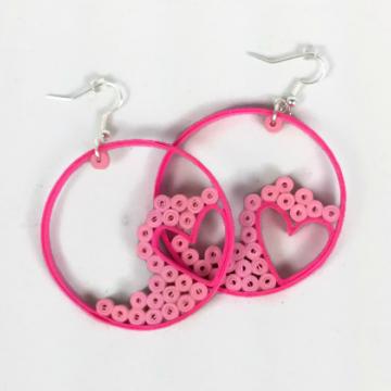 pink heart hoop earrings, paper quilling jewelry, pink hearts, heart earrings