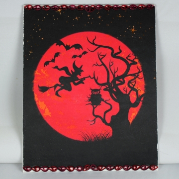 Halloween decoration, red moon, quilling art, Halloween decor, Halloween witch