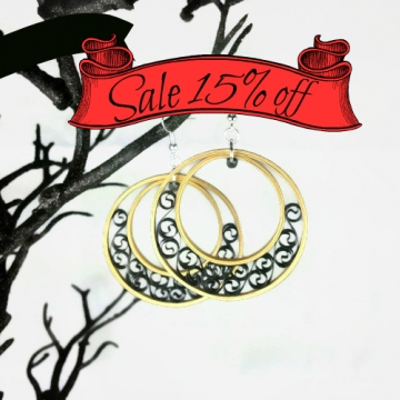 sale earrings, gold hoop earring, black filigree, gold hoop, paper quill earring