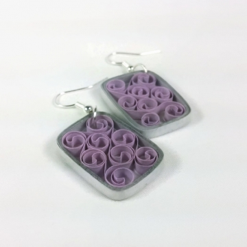 rectangle paper filigree earrings, paper quilled rectangle earrings
