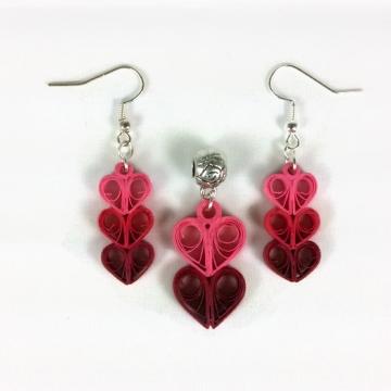 heart jewelry, heart earrings, heart necklace, paper quilling hearts