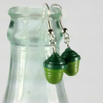 tiny acorn earrings, green acorns, paper quilling earrings, quilling acorns