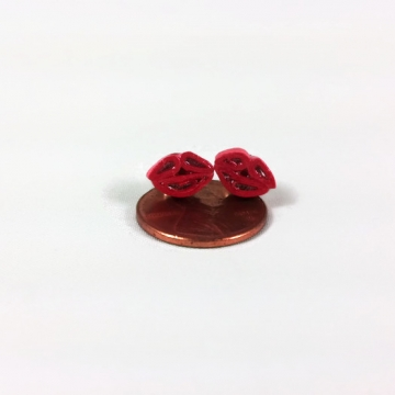 tiny lips stud earrings, red lips studs, red kiss studs, kiss post earrings