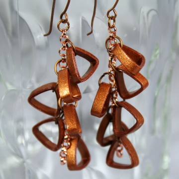 copper jewelry, paper quilling earrings, rose gold chain earrings, chain earring