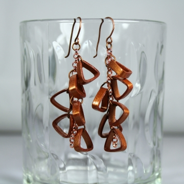 copper cluster earrings, copper earrings, triangle earrings, handmade earrings