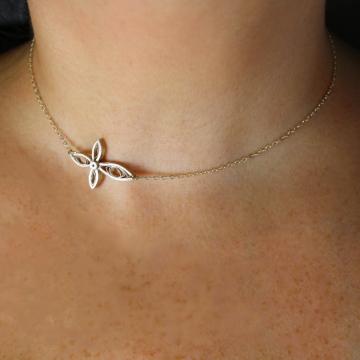 sideways cross necklace, handmade cross, paper quilling cross, womens cross