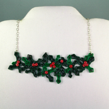 mistletoe necklace, quilling necklace, paper quill necklace, paper quill jewelry