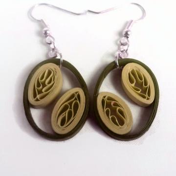 dangle earrings, oval earrings, small earrings, gift for her, gift for wife