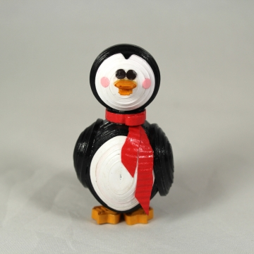 paper quilled penguin, handmade penguin ornament, handmade penguin