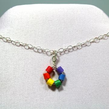 rainbow necklace, minimalist necklace, ecofriendly choker, ecofriendly necklace
