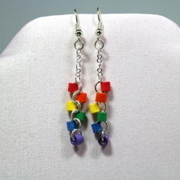 rainbow dangle earrings, rainbow earrings, gay pride jewelry, gay pride earrings