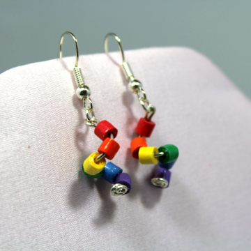 rainbow dangles, paper quilling earrings, paper quilled jewelry, rainbow colors