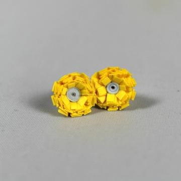 mini flower, yellow paper flower, paper flower earrings, paper flower studs