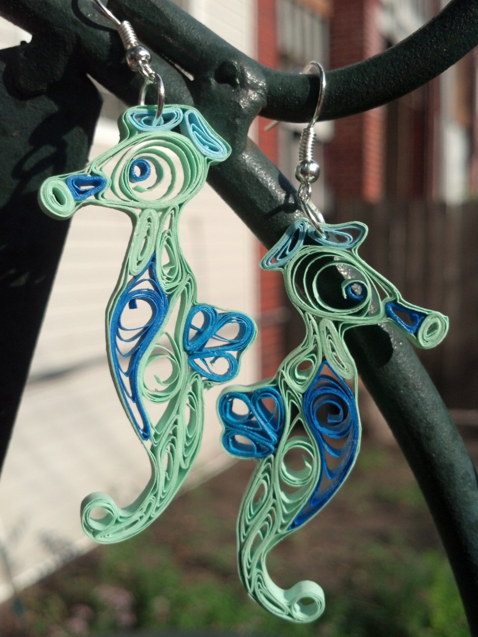 Seahorse Earrings Handmade Paper Quilling Sweethearts