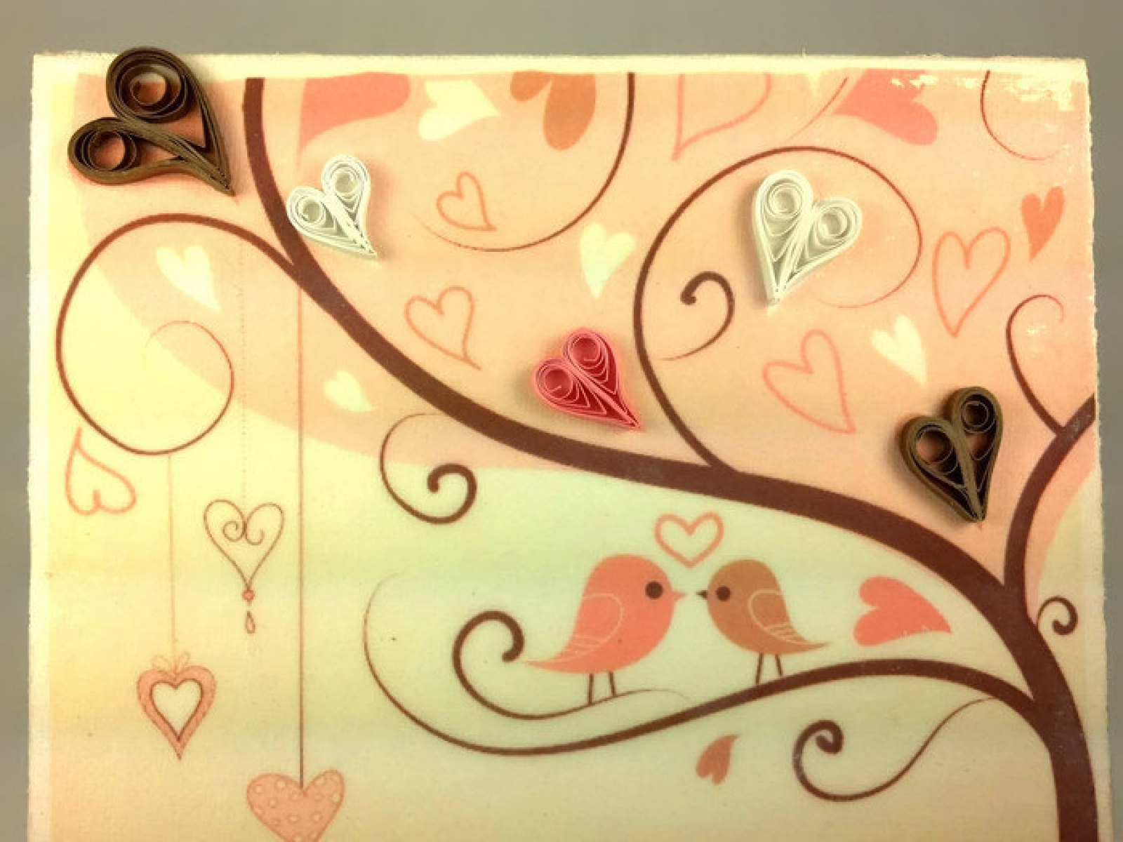 I Love You Birds Cotton Anniversary Wall Art | Sweethearts and Crafts