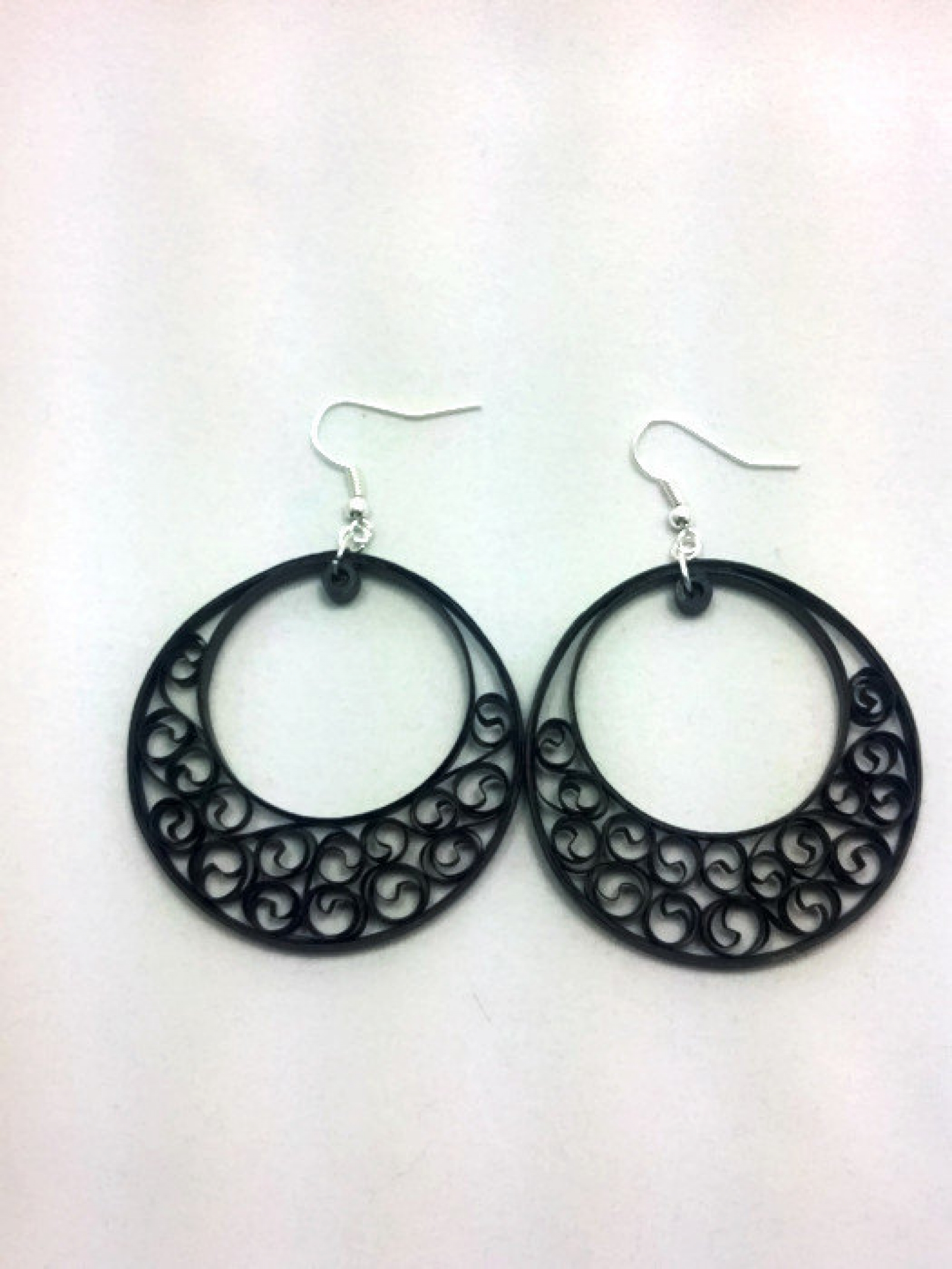 Black Filigree Earrings Half Moon Hoops Sweethearts And