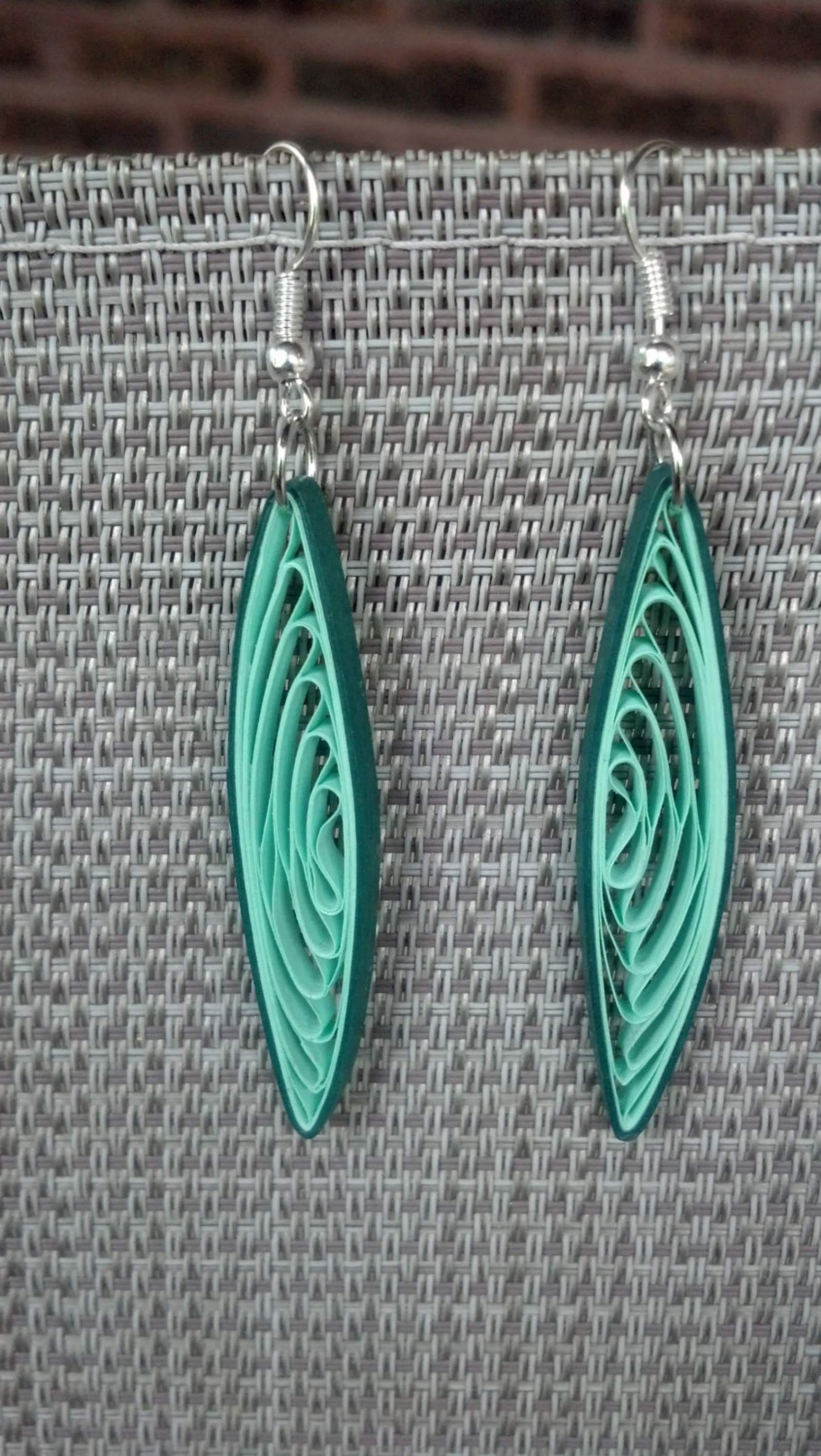 Eco Friendly Green Dangle Earrings Paper Quilling