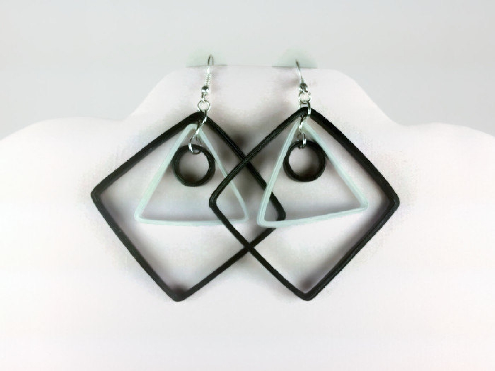 Modern earrings black and white earrings geometric earrings eco chic earrings