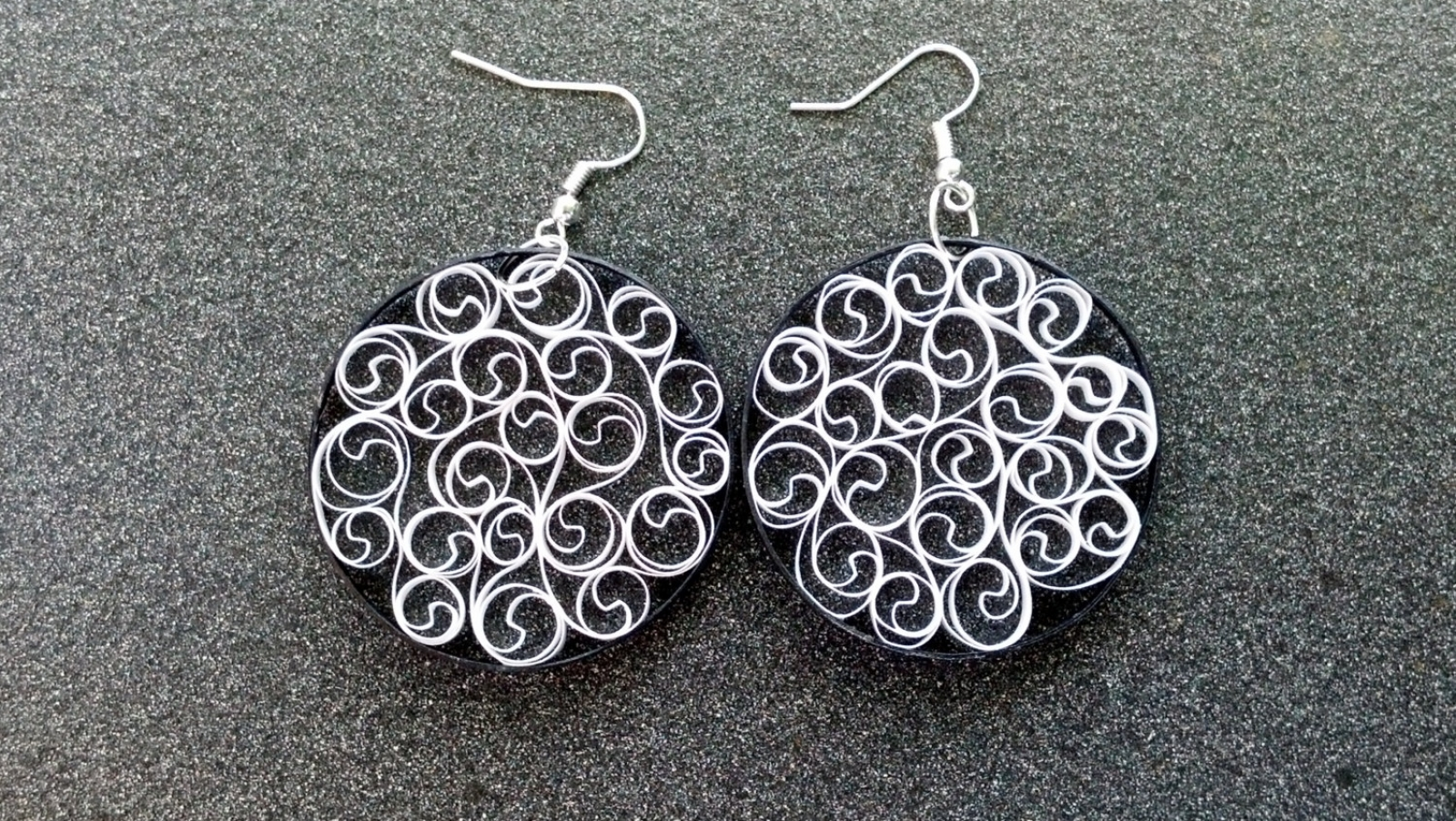 Black and white earrings filigree earrings black and white filigree eco chic